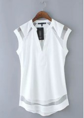 V Neck Cap Sleeve White Chiffon Blouse