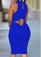 Cutout Back Sleeveless Royal Blue Bodycon Dress
