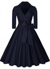 Navy Blue Plus Size High Waist Dress
