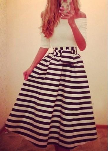 Half Sleeve Stripe Print A Line Dress