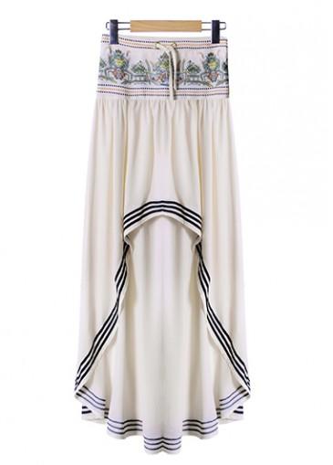 Tribal Print Low Waist Aymmetric Skirt