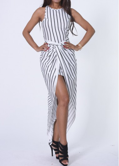 Vertical Stripe Print Ruched Front Maxi Dress