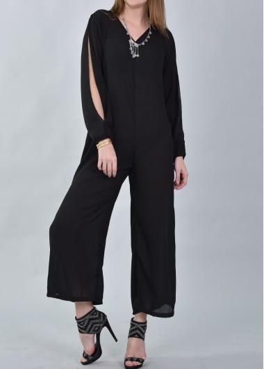 Black Slit Sleeve Casual Loose Jumpsuit
