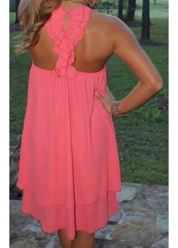 Sleeveless Round Neck Neon Pink Straight Dress