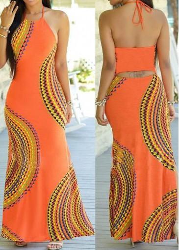 Cutout Design Open Back Printed Dress