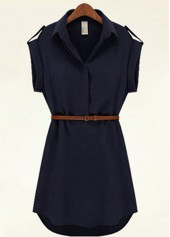 Chiffon Turndown Collar Navy Blue Chiffon Shirt Dress
