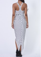 wholesale Vertical Stripe Print Ruched Front Maxi Dress