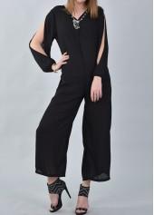 wholesale Black Slit Sleeve Casual Loose Jumpsuit