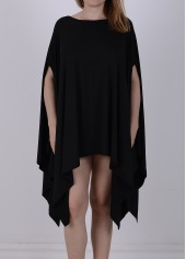Round Neck Asymmetric Black T Shirt Dress