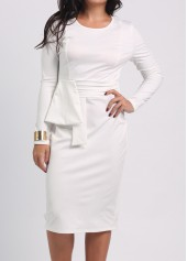 White Round Neck Mid Calf Dress