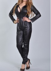 Long Sleeve Faux Leather Black Jumpsuits