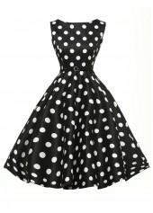 Black Sleeveless Polka Dot Print Dress