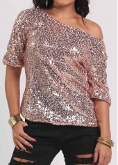 Half Sleeve Sequins Decorated Rose Pink T Shirt