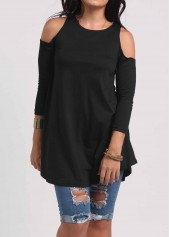 Three Quarter Sleeve Black Loose Blouse