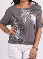 Feather Print Grey Cold Shoulder T Shirt
