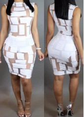 White Sleeveless Semi Sheer Skinny Dress