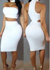 Open Back Sleeveless White Bodycon Dress