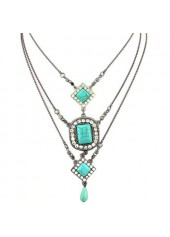 Cyan Stone Multilayered Pendant Decorated Metal Necklace