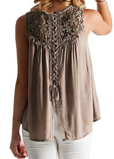 Coffee Round Neck Lace Stitching Blouse