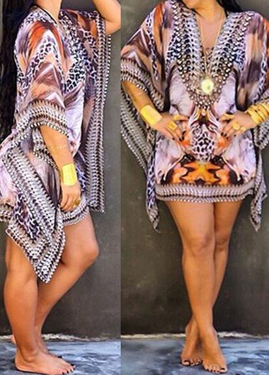 Batwing Sleeve V Neck Printed Mini Dress
