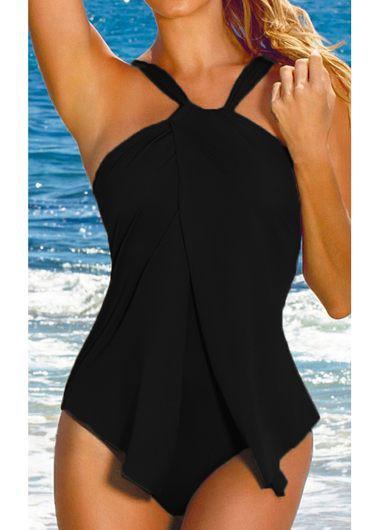 Solid Black Padded One Piece Swimwear