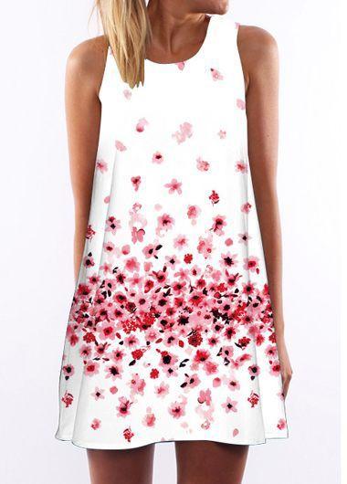 Floral Print Round Neck Straight Dress