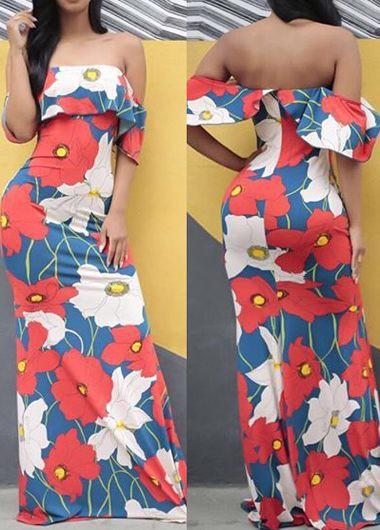 Printed Off the Shoulder Maxi Dress