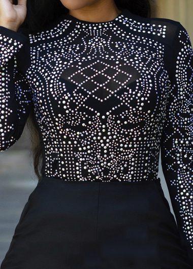 Rhinestone Decorated Long Sleeve Black Blouse