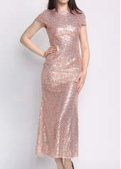 Open Back Short Sleeve Sequined Maxi Dress