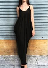 Open Back Pocket Decorated Black Maxi Dress
