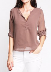 V Neck Button Design Coffee Asymmetric Hem Blouse