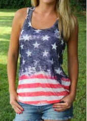 Sleeveless Round Neck Star and Stripe Print Top