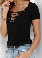 Solid Black Lace Up T Shirt