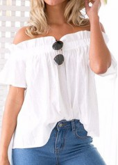 Ruffled Off the Shoulder White Blouse