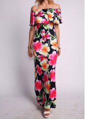 Flower Print Off the Shoulder Maxi Dress
