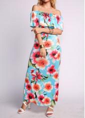 Off the Shoulder Flower Print Maxi Dress