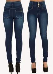 Button Design High Waist Zipper Closure Jeans