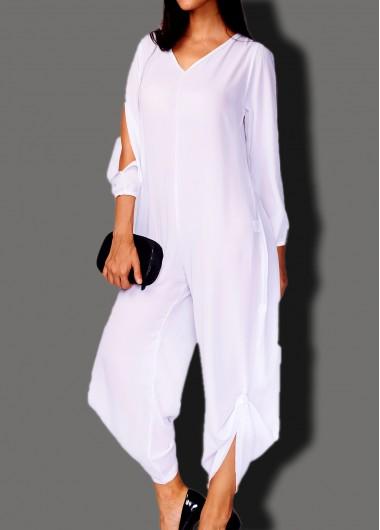 Plus Size Slit Sleeve White Jumpsuit