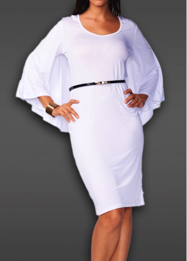 Batwing Sleeve V Neck White Cloak Dress