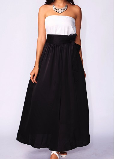 Black Pocket Design Belt Design Maxi Skirt