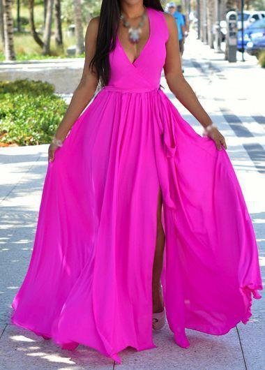 V Neck Sleeveless Rose Maxi Dress