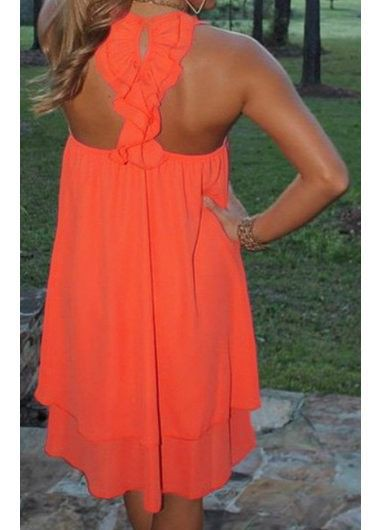 Open Back Round Neck Orange Mini Dress