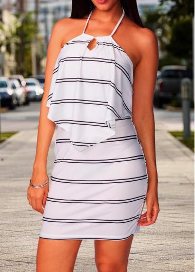Halter Neck Open Back Stripe Print Dress