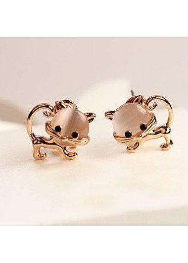 Stone Decorated Cat Shape Desgin Earrings