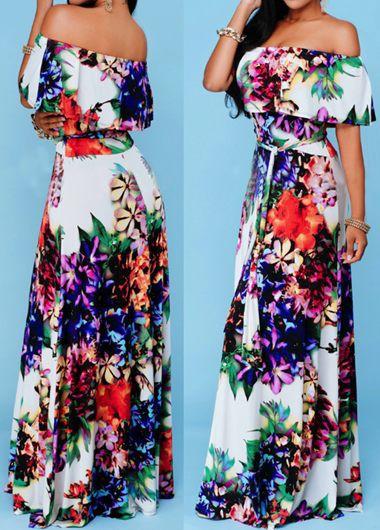 Off The Shoulder Flower Print Dress