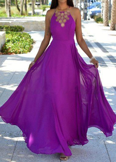Sleeveless Criss Cross Back Purple Dress