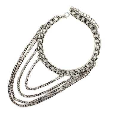 Layered Silver Metal Chain Anklet for Woman