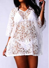 V Neck Batwing Sleeve White Lace Cover Up