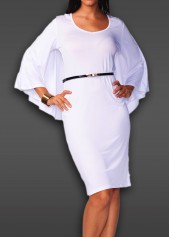 wholesale Batwing Sleeve V Neck White Cloak Dress