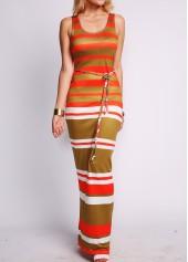 Sleeveless Belt Embellished Striped Maxi Dress